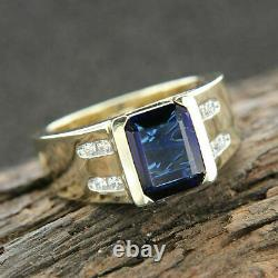 2Ct Emerald Cut Blue Sapphire Men's Classic Engagement Ring 14K Yellow Gold Over
