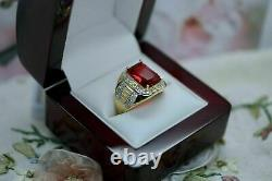 4 CT Red Ruby Mens Antique Art Deco Vintage Band Ring 14k Yellow Gold Finish