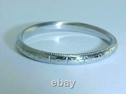 ANTIQUE SOLID 18K WHITE GOLD 2.5mm COMFORT FIT WEDDING BAND SIZE 9.5 FREE SHIP