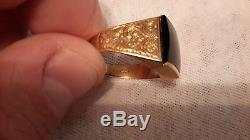 ANTIQUE VINTAGE MENS 18K SOLID YELLOW GOLD 6.4 GRAMS BLACK ONYX RING SIZE 8.5-9