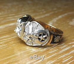 AWESOME MENS VINTAGE 10K GOLD &. 75ct DIAMOND MASONIC / SHRINERS RING. 32 DEGREE