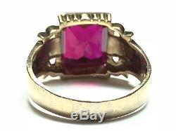 Amazing Vintage Mens 10K Yellow Gold Ruby Ring Size 10 A MUST SEE