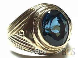 Amazing Vintage Mens 14K Yellow Gold Faceted Sapphire Ring Size 8