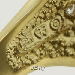 Ancient Coin Ring 18k Yellow Gold Coin Silver Diamonds Men's Vintage 0.15ctw