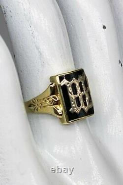Antique 1900s Edwardian BLACK ONYX W INITIAL 14k Yellow Gold Mens Ring Band