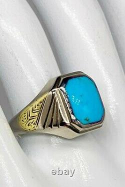 Antique 1920s $2400 7ct Natural Turquoise 10k White Yellow Gold Mens Ring Band