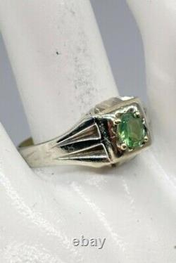 Antique 1920s $4000.65ct Natural Alexandrite 18k White Gold Mens Ring Band