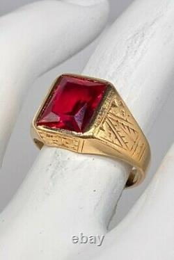 Antique 1920s 5ct French Cut RUBY 14k Yellow Gold Signed Mens Ring Band 7g