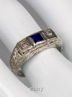 Antique 1920s Signed $4000 1ct Sapphire Diamond 18k White Gold Mens Ring Band
