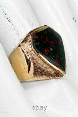 Antique 1930s $2400 Shield Cut 7ct Bloodstone 14k Yellow Gold Mens Ring Band