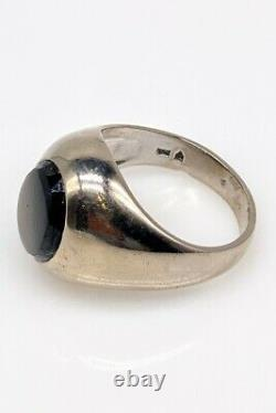 Antique 1950 $5000 10ct Natural Brown Star Sapphire 18k White Gold Mens Ring 13g