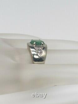 Antique 1950s $5000 2ct Colombian Emerald Diamond 14k White Gold Mens Ring 9g