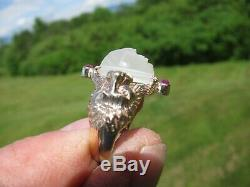 Antique! 2K Gold Large Moonstone Man in the Moon Ring C. 1900