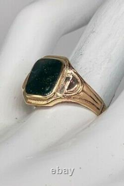 Antique 4ct Natural BLOODSTONE 10k Yellow Rose Gold Mens Ring Band