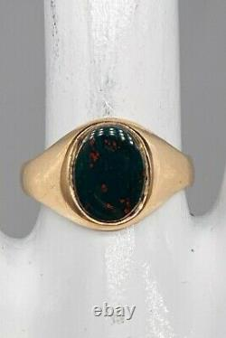 Antique Edwardian 1900s 3ct Natural Bloodstone 10k Yellow Gold Mens Ring Band