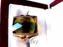 Antique Men 10k Yellow Gold Mens Ring With Watermelon Natural Tourmaline