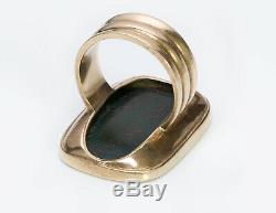Antique Men's Gold Bloodstone Crest Ring
