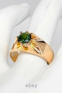 Antique Ostby & Barton $5000 2ct Natural Green Sapphire 10k Gold Mens Band Ring