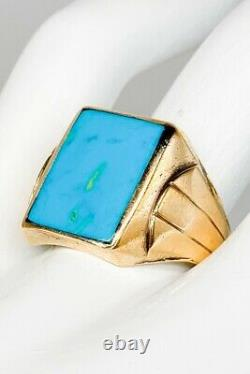Antique RETRO 1940s 10ct Natural Turquoise 10k Yellow Gold Mens Ring Band 6g