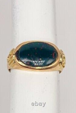 Antique Signed Bailey Bank & Biddle 5ct BLOODSTONE 14k Yellow Gold Mens Ring