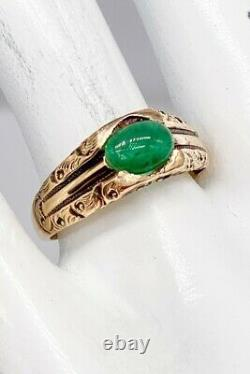 Antique Victorian 1880s $4000 2ct Colombian Emerald 14k Yellow Gold Mens Ring