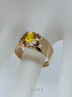 Antique Victorian 1890 $4000 2ct Natural Yellow Sapphire 14k Gold Mens Ring Band