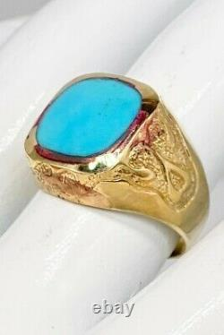 Antique Victorian 1897 5ct Natural Turquoise 8k Yellow Solid Gold Mens Band Ring