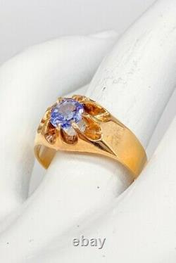 Antique Victorian $4000 1.11ct CERTIFIED Blue Sapphire 14k Yellow Gold Mens Ring