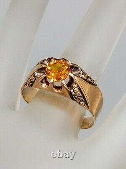 Antique Victorian $4000 1.25ct Natural Orange Sapphire 14k Yellow Gold Mens Ring