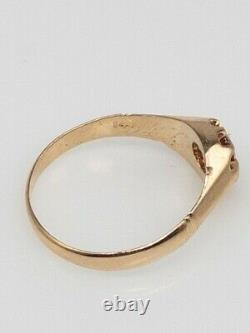 Antique Victorian. 75ct Natural Padparadscha Sapphire 14k Yellow Gold Mens Ring