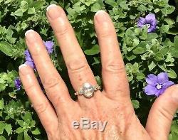 Antique Victorian Carved Moonstone Man In The Moon Moon Face Diamond & Gold Ring