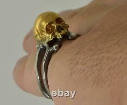 Antique Victorian Memento Mori Skull&bones gold plate sterling silver mens ring