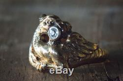 Antique Vintage Mens Ring Size 9.75 14 kt Gold Phoenix with Diamond (. 14 ct)