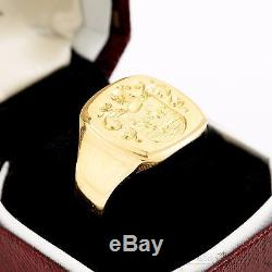 Antique Vintage Victorian 18k Gold Carved Signet Seal Crest Mens Estate Ring! 10