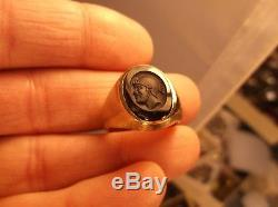 Attractive Vtg Antique Mens 10k Yellow Gold & Black Onyx Art Deco Centurion Ring
