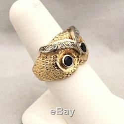 Awesome 14k Gold Vintage Estate Mens Owl Head Sapphire Diamond Mens Pinky Ring