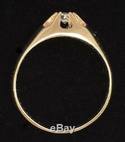 Belcher Style 6-Prong Mens Ring 14kt Yellow Gold Vintage Very Nice! Bold Style