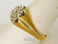 Classy Mens Vintage 14k Yellow Gold Fiery Diamond Cluster RingSize 9.75