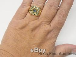 Cool Heavy 14k Gold Natural Sapphire Gen. Diamond Nugget Mens Vintage Ring 9.5