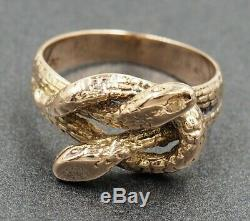 Double Snake Vintage Ring Womens Mens 9ct Yellow Gold Ring Fine Jewelry