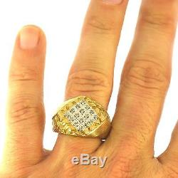 Estate Mens Diamond Ring Yellow Gold Vintage Mounting Fine Natural Great Finish