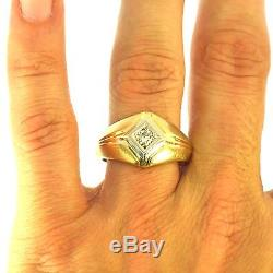 Estate Mens Round Brilliant Cut Diamond Ring Yellow Gold Great Vintage Mounting