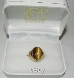 EXCELLENT Vintage MAN'S 14K GOLD & TIGER'S EYE PINKY RING size 8 HEAVY-7.5 GRAMS