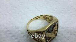 Eagle Diamond Cluster Ring Men's Vintage 10K Yellow Gold size 9