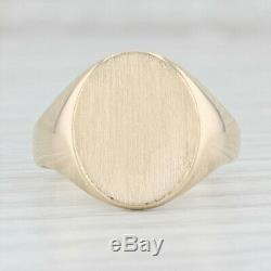 Engravable Signet Ring 10k Yellow Gold Size 8.75 Oval Men's Vintage