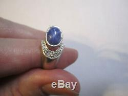 Estate Vintage'60's Blue Star Sapphire & 10K white Gold Ring Men/Women SIze 8.5