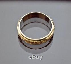 Estate vintage 14k yellow white gold engraved men's eternity wedding ring sz 13