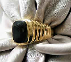 Exceptionally Gorgeous Vintage 14k Solid Gold Genuine Onyx Signet Men's Ring