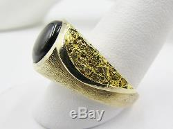 Exquisite Vintage 14k Gold 24k Nugget Black Star Sapphire Mens Ring Estate Heavy