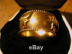 Fabulous Vintage Rare Mens Quality 14ct Gold Wide Band Bull Ring, 12g, Not Scrap
